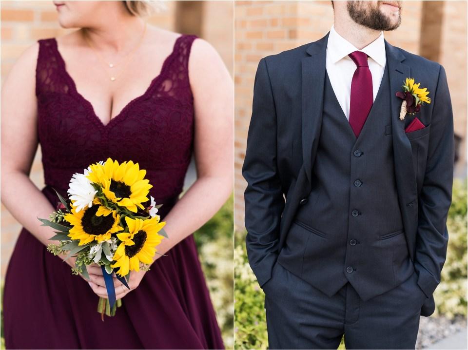 bridesmaid and groomsmen sunflower details