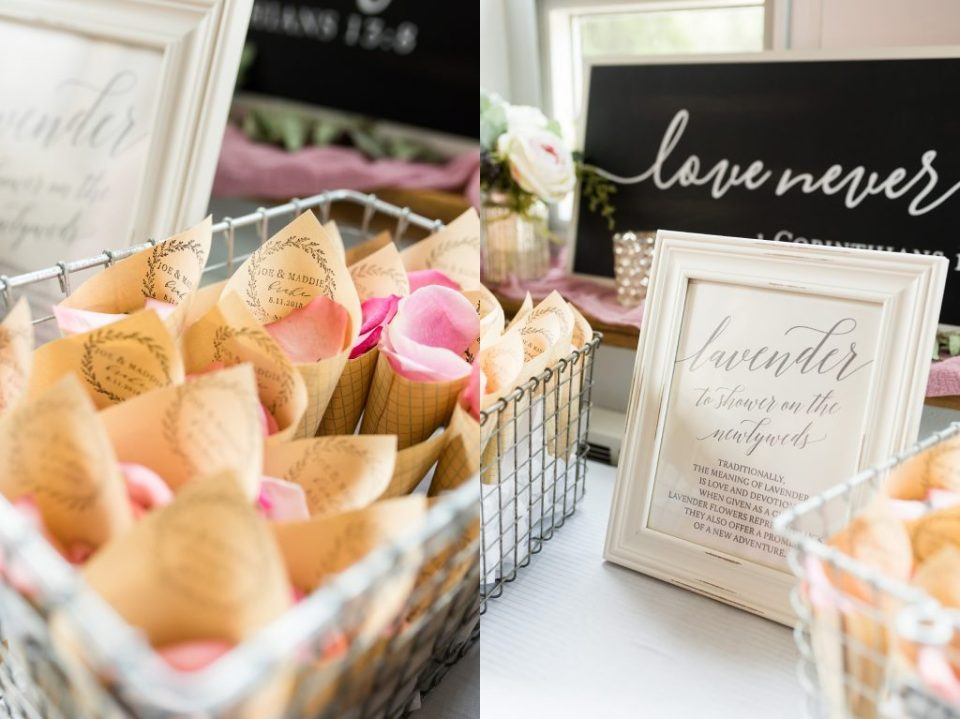 Lavender and flower petals to show on newlyweds after wedding ceremony. Maddie Peschong Photography.