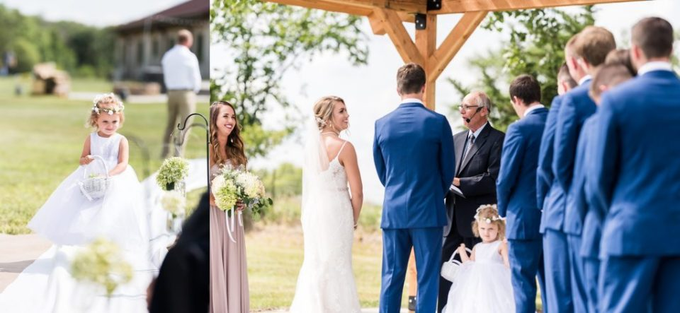 Outdoor wedding ceremony at Feathers at the Ranch in South Dakota. Maddie Peschong Photography.