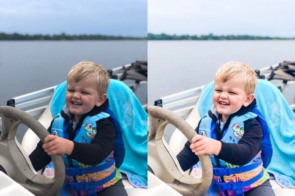 before and after photo edit of boy driving boat