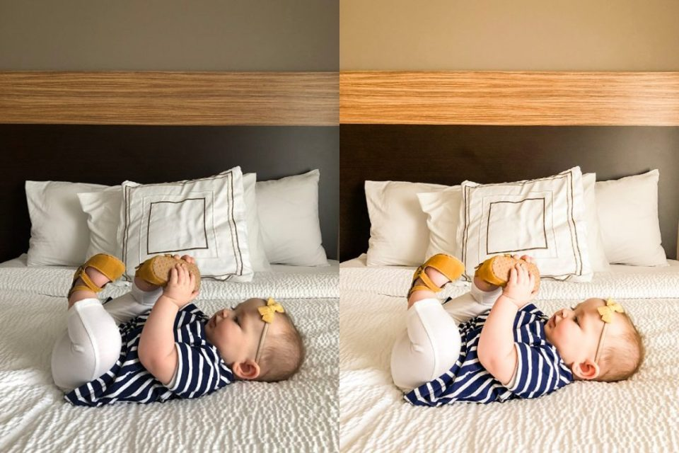 before and after photo edit of baby