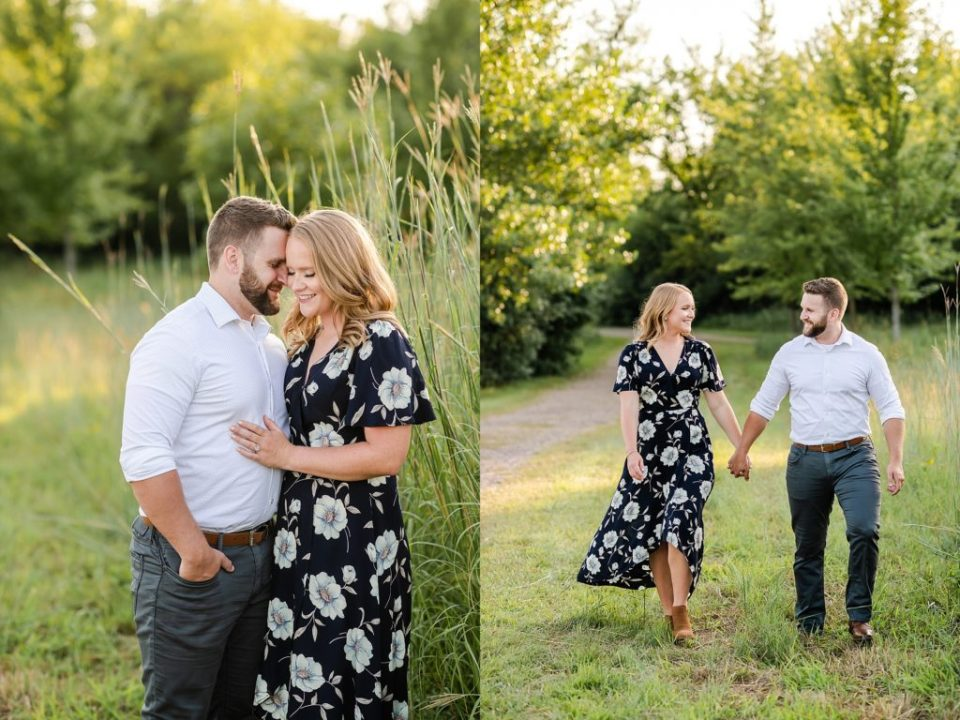 couple walking in tall grass engagement photos
