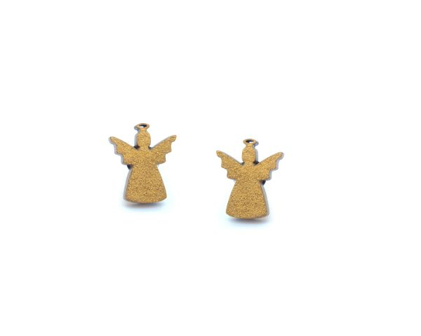 Golden Angels Maple Hardwood Stud Earrings   Hand Painted
