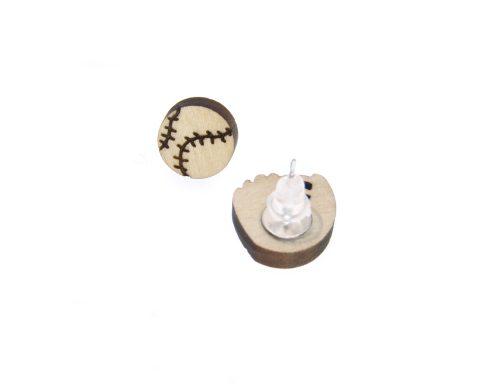 Baseball & Glove Maple Hard Wood Stud Earrings