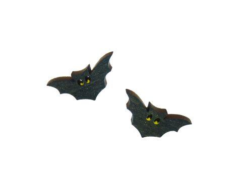 Bats A02 Maple Hardwood Stud Earrings | Hand Painted