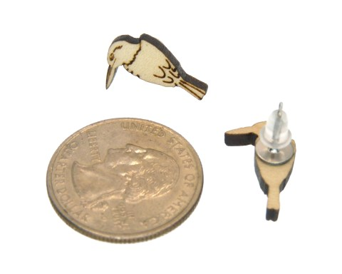 Birds Maple Hardwood Stud Earrings