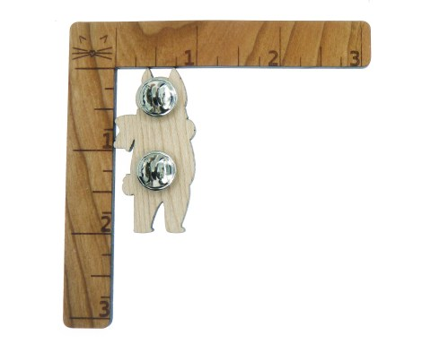 Bobtail Cat Maple Hardwood Pin| Hand Painted