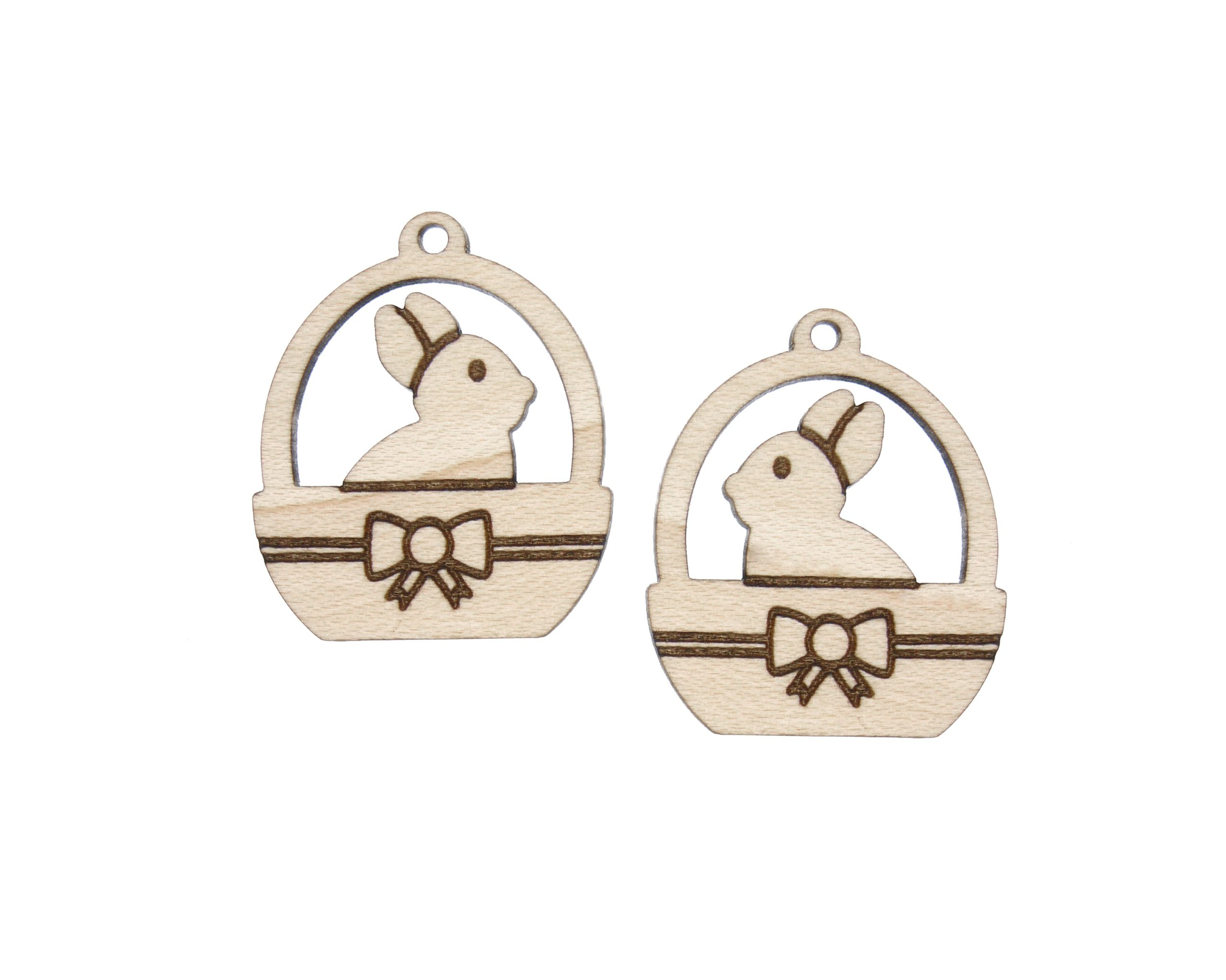 Bunny in Easter Basket Engraved Wood Drop Charms