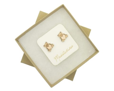 Cats with Hearts Maple Hardwood Stud Earrings | Hand Painted