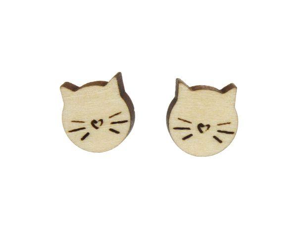 Cats Wood Stud Earrings | Hand Drawn