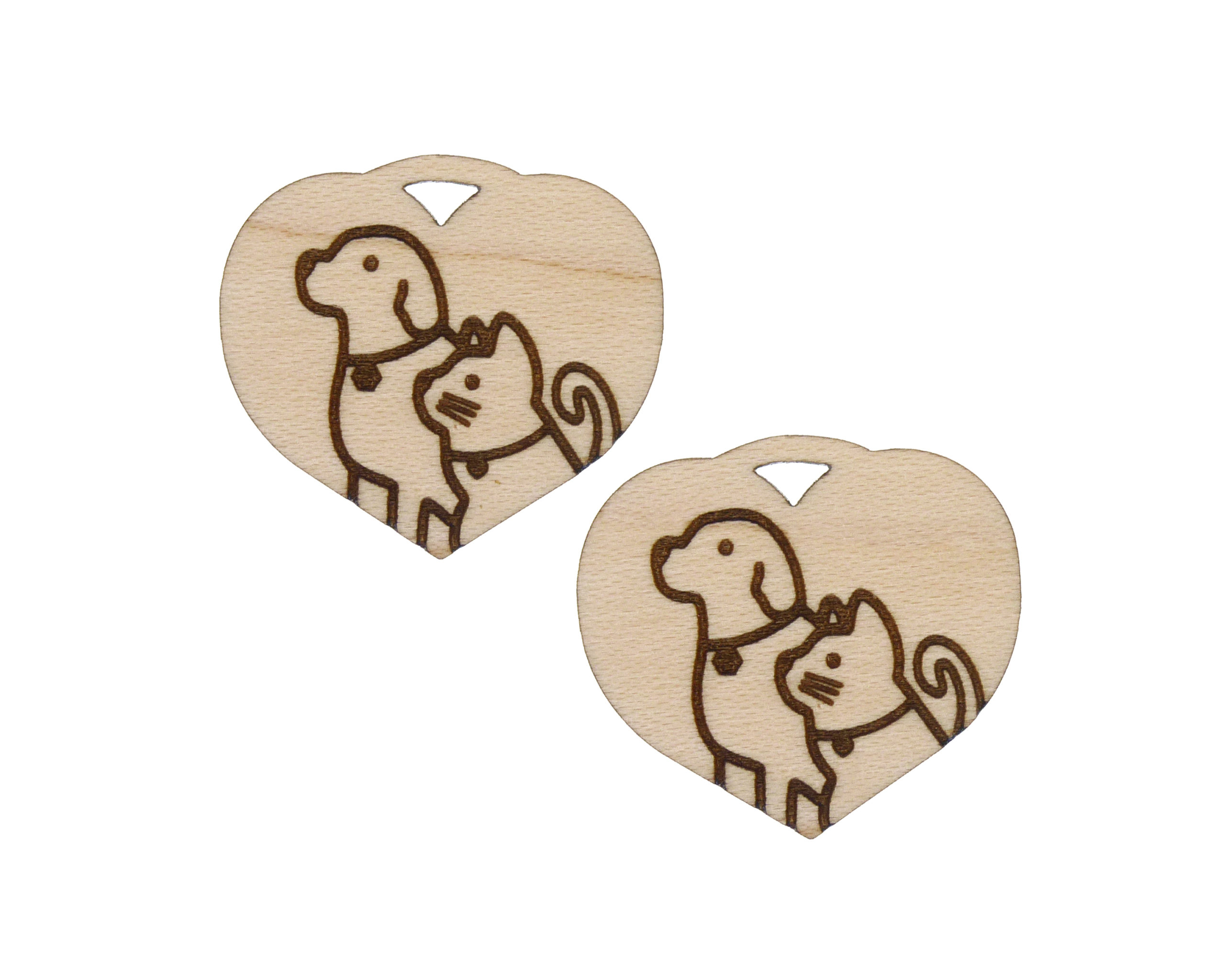 Hearts with Dogs and Cats Engraved Wood Drop Charms