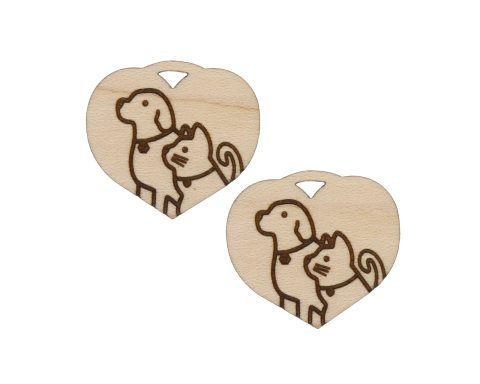 Hearts with Dogs & Cats Engraved Wood Drop Charms