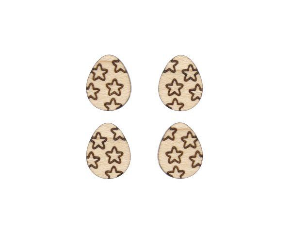 Easter Eggs with Stars Engraved Wood Cabochons