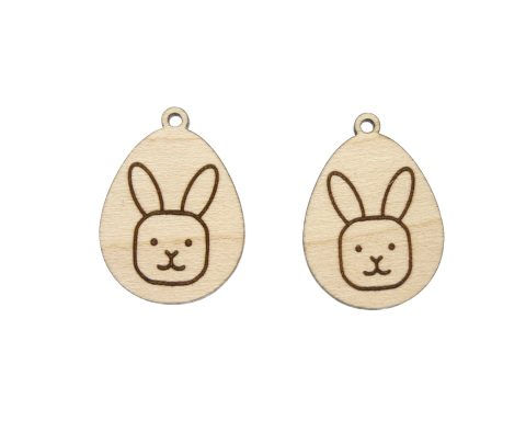 Eggs with Bunny Rabbit Engraved Wood Drop Charms