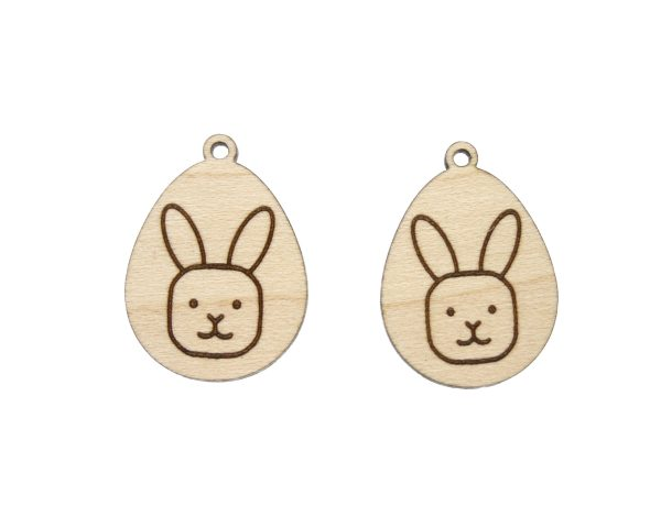 Egg with Bunny Rabbit Engraved Wood Drop Charms