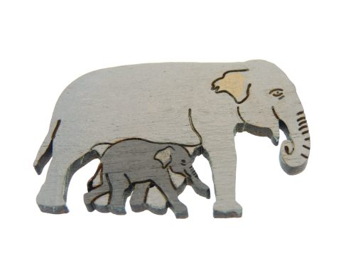 Elephant with Calf Maple Hardwood Pin | Hand Painted