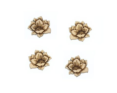 Flowers A01 Engraved Wood Cabochons