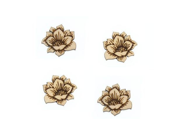 Flowers Engraved Wood Cabochons
