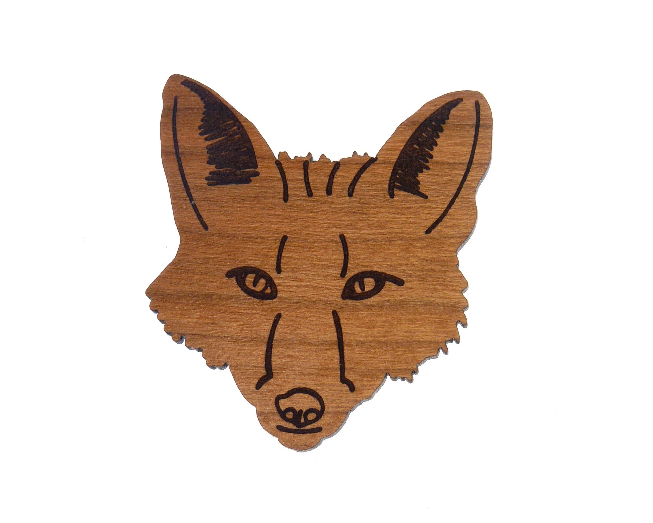 Fox Cherry Hardwood Pin | Hand Drawn