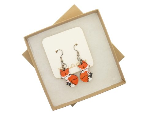 Red Foxes Maple Hardwood Earrings | Hand Painted