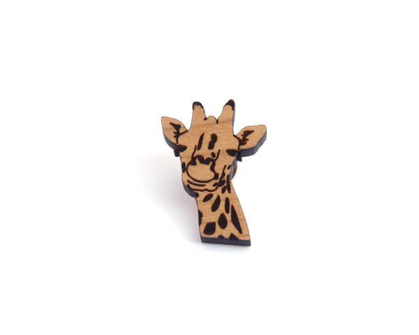 Giraffe Cherry Hardwood Pin | Hand Drawn