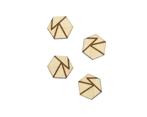 Geometric Hexagons A01 Engraved Wood Cabochons