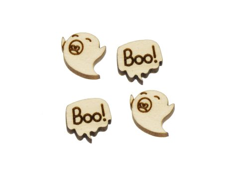 Ghost Boo! Mix Engraved Wood Cabochons