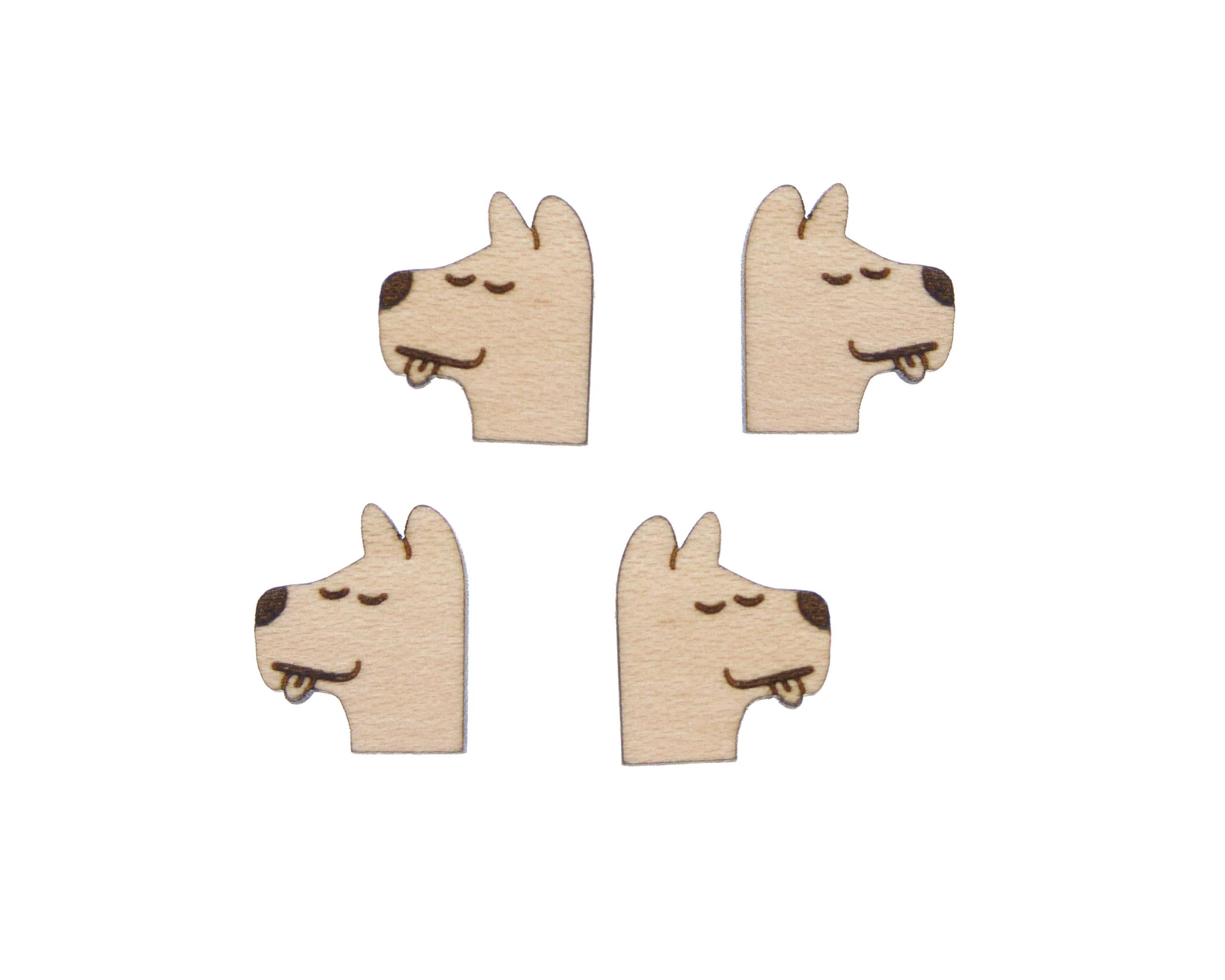 Happy Dog Engraved Wood Cabochons