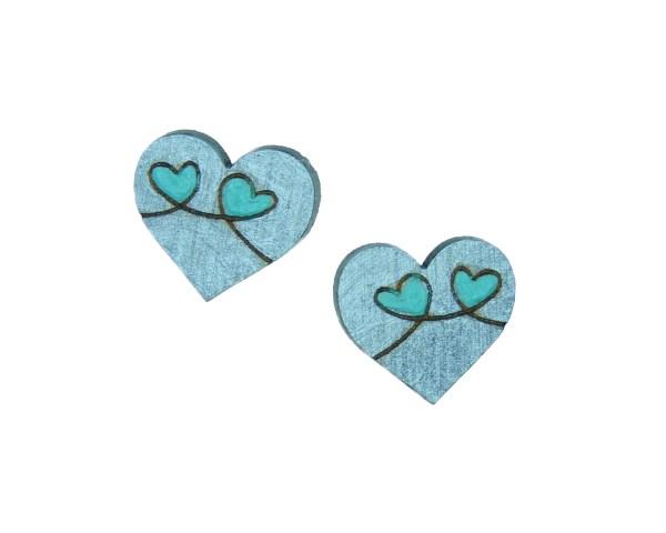 Heart Loops Maple Hardwood Stud Earrings   Hand Painted