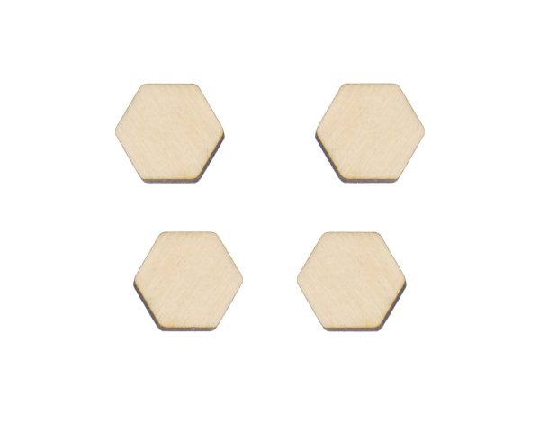 Rounded Hexagons Blank Wood Cabochons