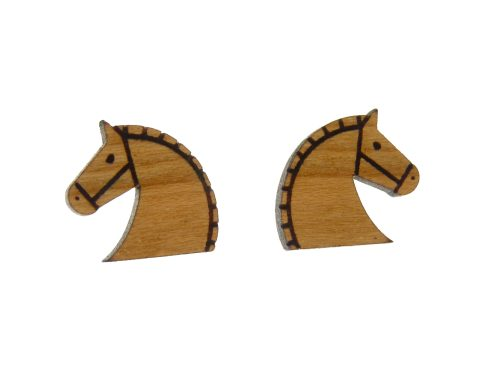 Horses Cherry Hardwood Stud Earrings