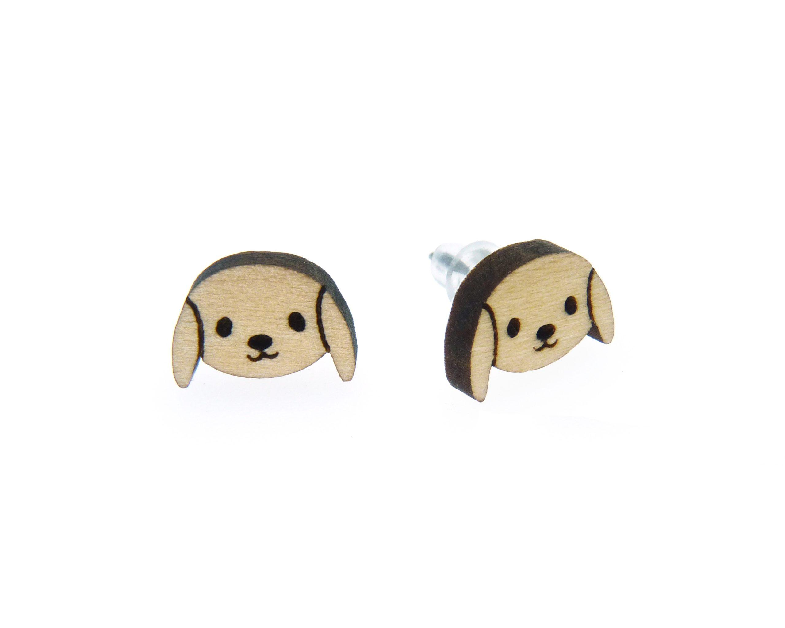 Kawaii Dogs Wood Stud Earrings