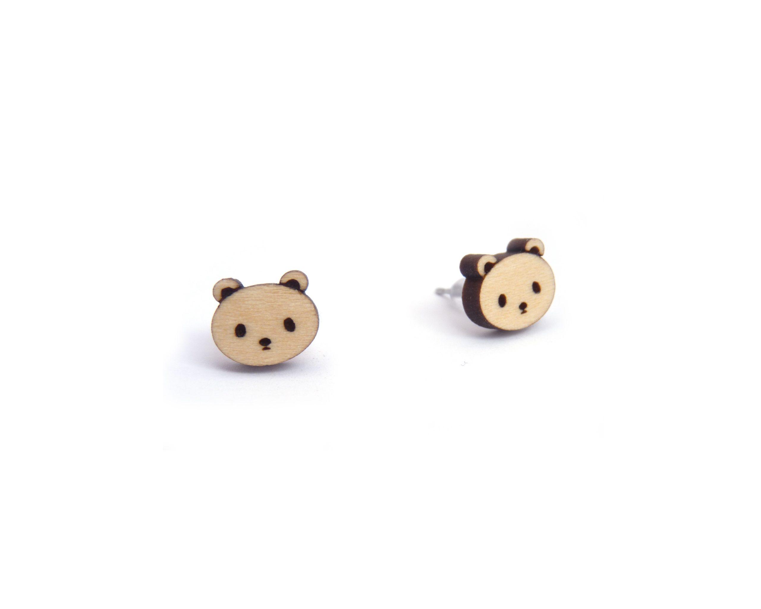 Kawaii Polar Bears Wood Stud Earrings