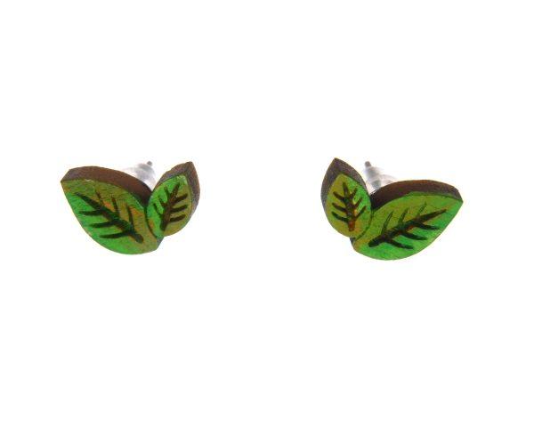 Leaves Wood Stud Earrings   Hand Painted