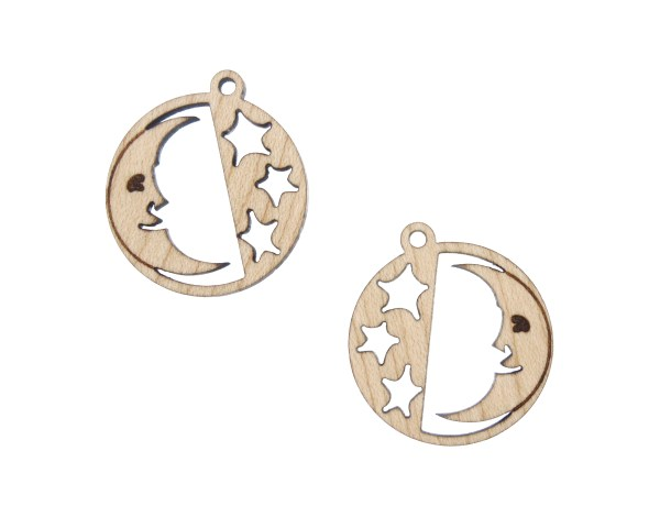 Moon and Stars Engraved Wood Drop Charms
