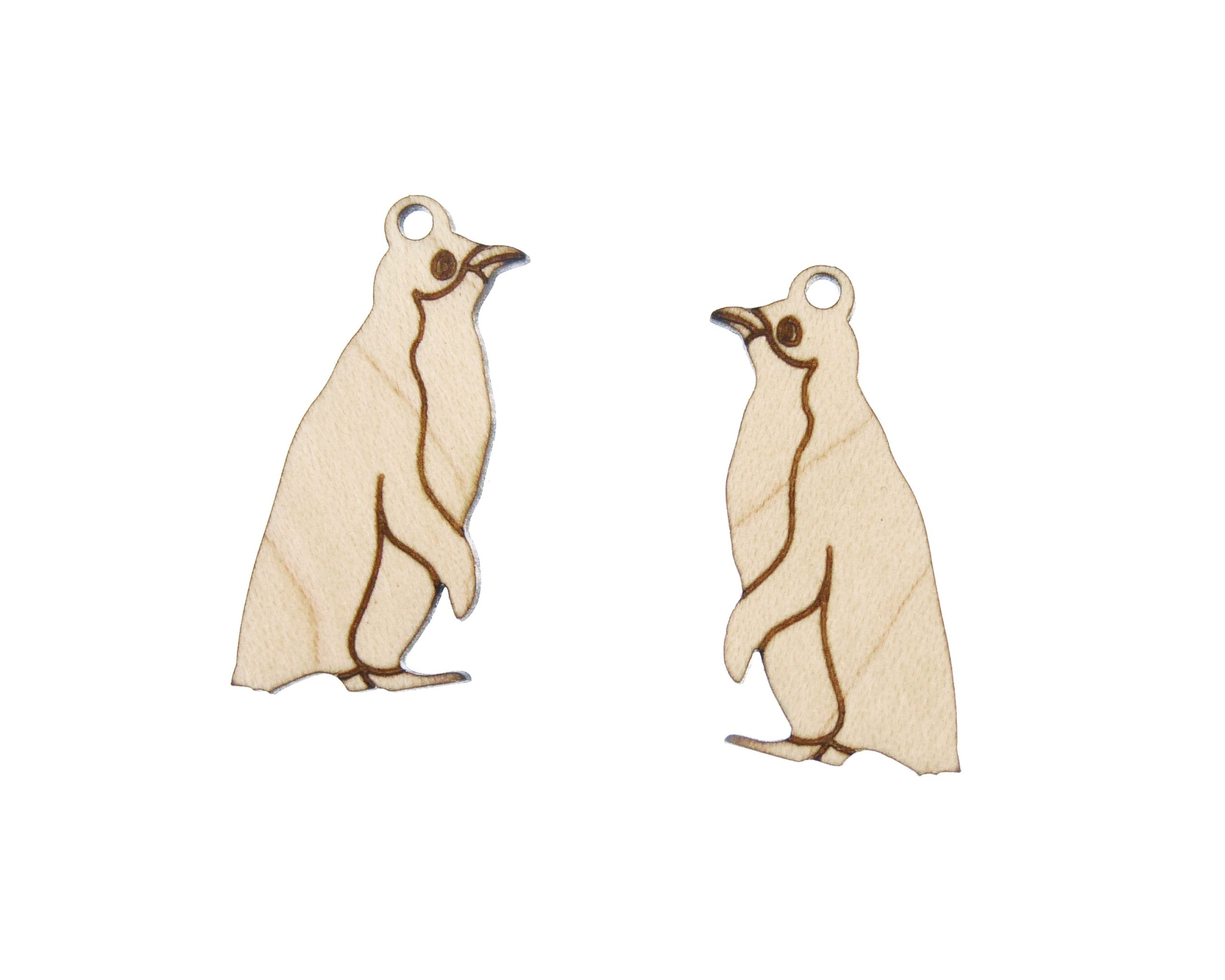 Penguins Engraved Wood Drop Jewelry Charms