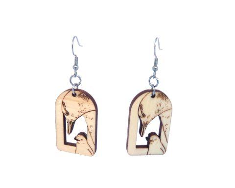 Penguins Maple Hardwood Earrings | Hand Drawn