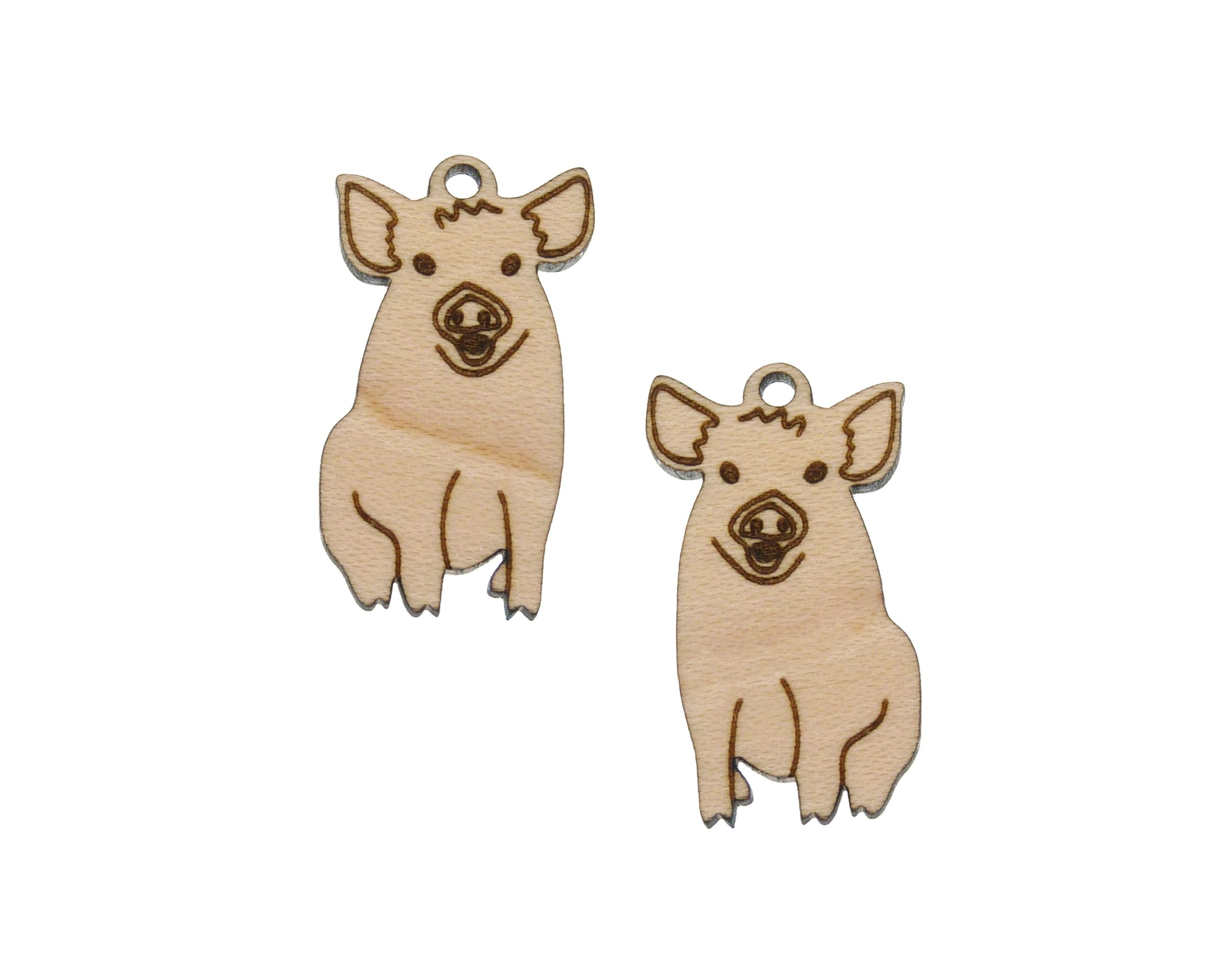 Pigs Engraved Wood Drop Charms