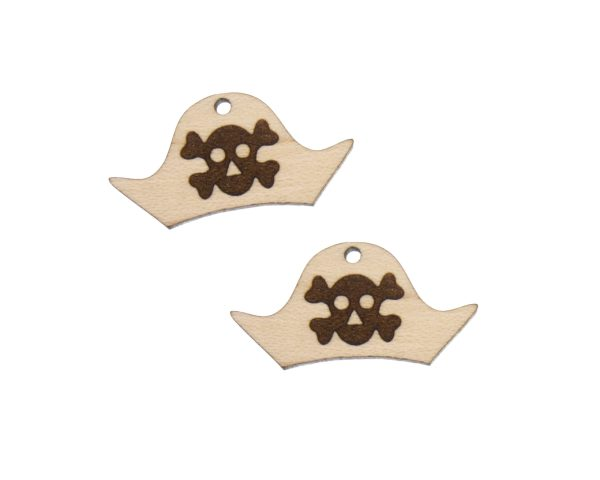 Pirate Hats Engraved Wood Drop Charms