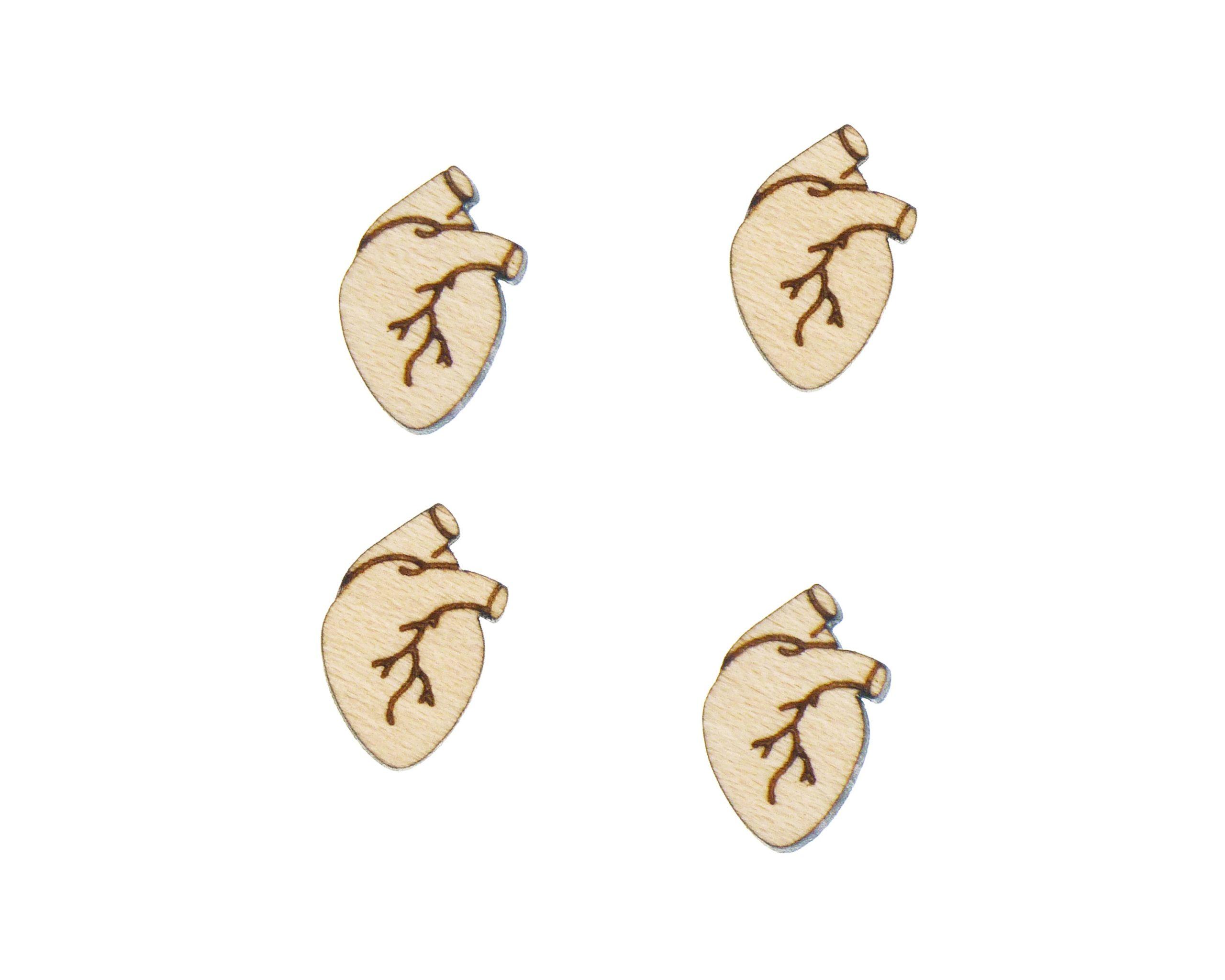 Anatomical Hearts Engraved Wood Cabochons