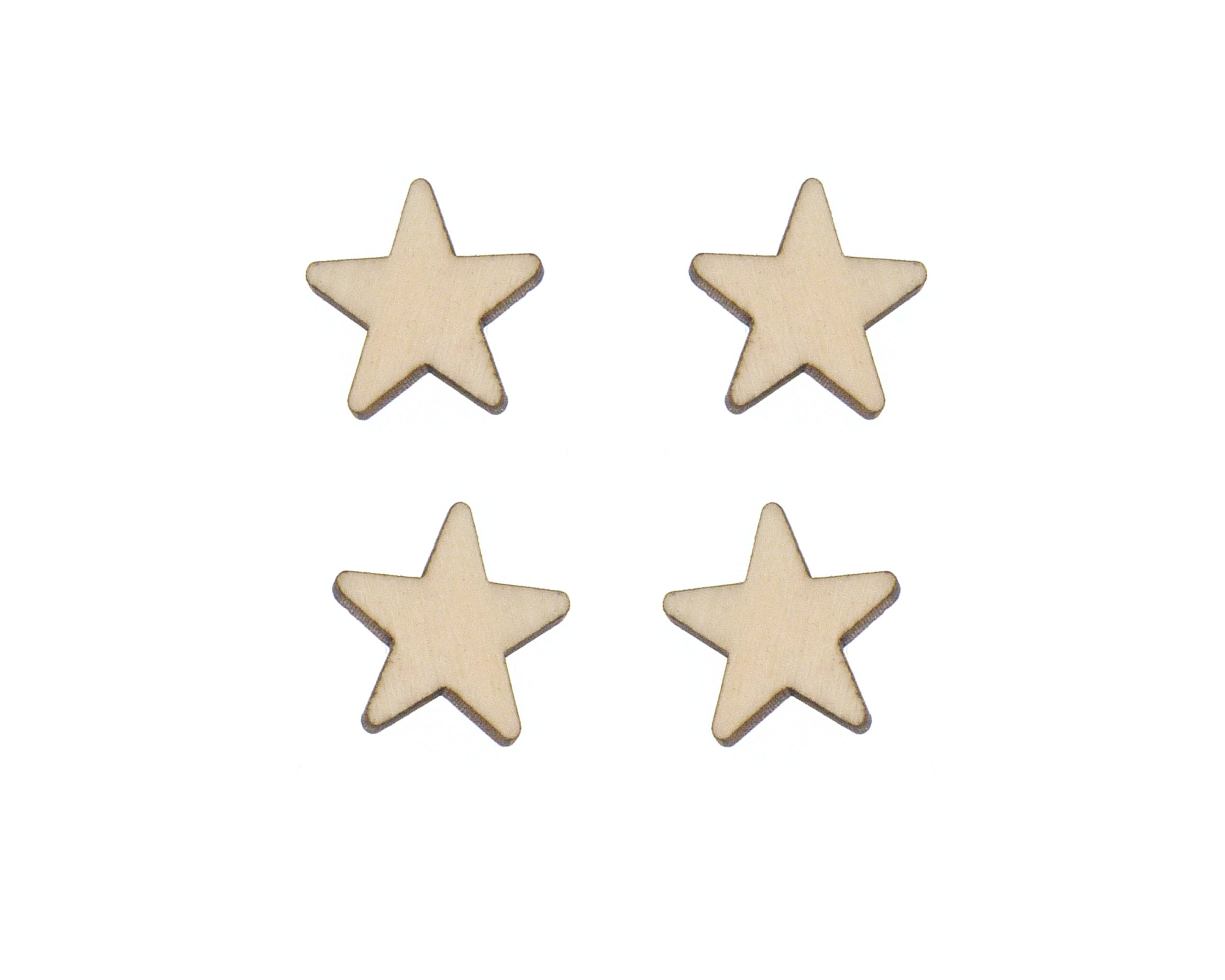 Rounded Stars Blank Wood Cabochons