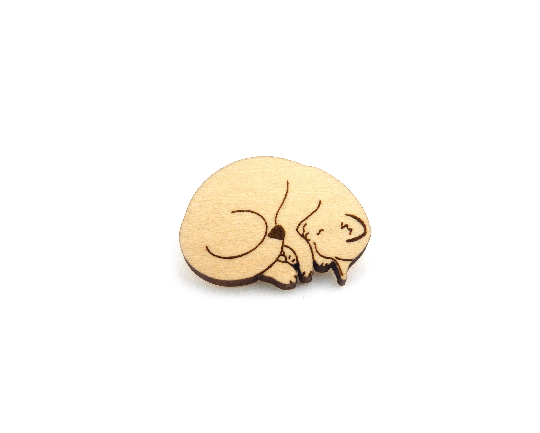 Sleeping Cat Maple Hardwood Pin | Hand Drawn