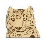 Snow Leopard Maple Hardwood Pin | Hand Drawn