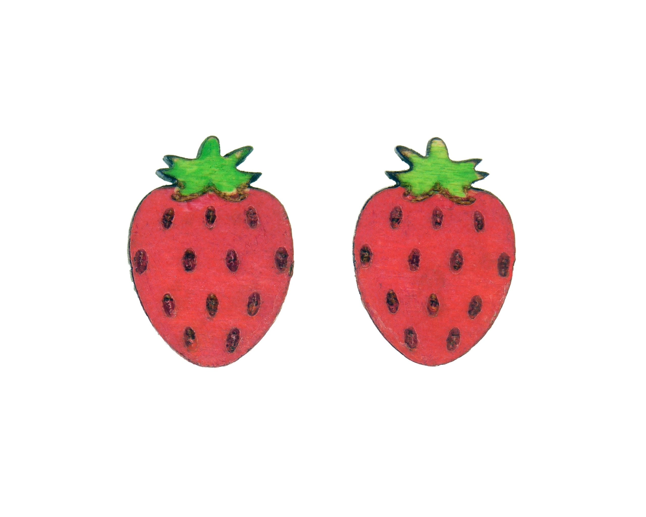 Strawberry Maple Hardwood Stud Earrings | Hand Painted