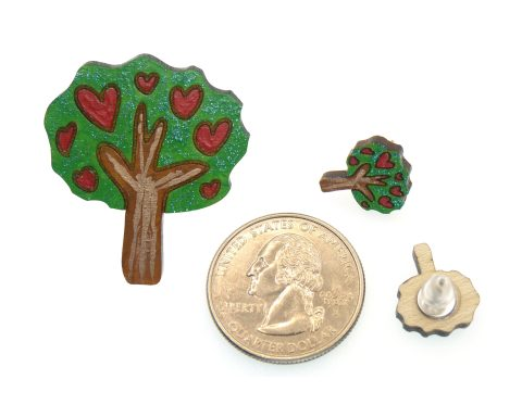 Trees with Hearts Maple Hardwood Earring Studs and Pin Jewelry Set | Hand Painted