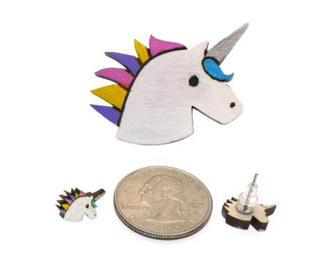 Unicorns Maple Hardwood Earrings and Pin Jewelry Set | Hand Painted