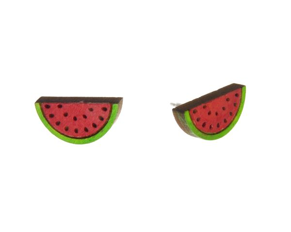 Watermelon Wood Stud Earrings   Hand Painted
