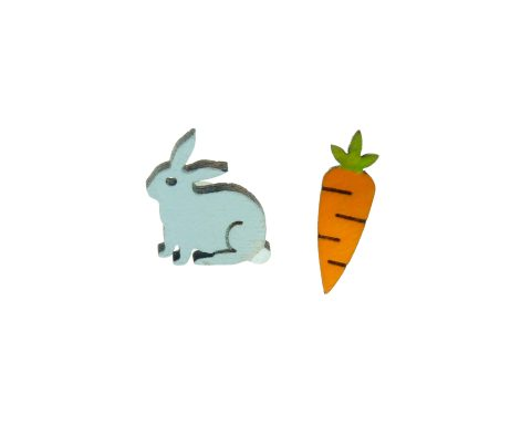 Bunny & Carrot Wood Stud Earrings | Hand Painted