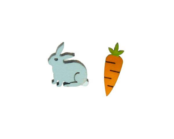 Bunny and Carrot Wood Stud Earrings