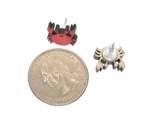 Crabs Maple Hardwood Stud Earrings   Hand Painted
